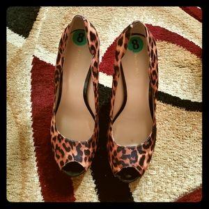 Nine West Open Toe Leopard Print Shoes